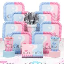 amazon com gender reveal deluxe party supplies kit serves 20