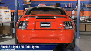 99 04 mustang sequential tail light kit mustang black 3 light led tail lights 99 04 gt v6 mach 1 review