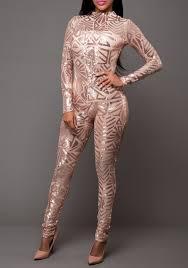 sleeve sequin jumpsuit gold geometric sequin neck sleeve fashion