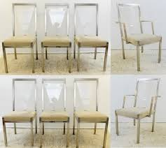 set of brushed chrome and plexiglass chairs chair seating