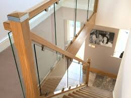 chrome banister rails toughened glass stair balustrade with solid oak rails stairs