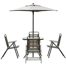 Folding Patio Set With Umbrella Amazon Com Giantex 8pcs Patio Garden Set Furniture 6 Folding
