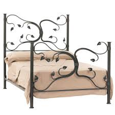 black carving leaves wrought iron bed frame with headboard and