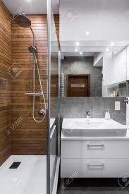 Bathroom Shower Mirror New Style Bathroom With Wooden Wall Shower Mirror And Basin