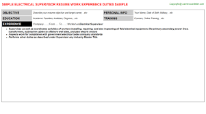 Offshore Resume Samples by Electrical Supervisor Resume Sample