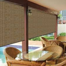 Outdoor Solar Table L Coolaroo Walnut Cordless Exterior Roller Shade 72 In W X 96 In