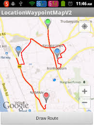 android map route between two locations with waypoints in map android