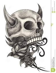 art skull devil tattoo stock illustration image 68927323