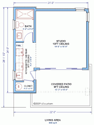 the studio400 plan is a single room modern guest house plan with a