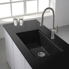 Kraus Kitchen Sinks Kraus 31 Inch Undermount Single Bowl Black Onyx Granite Kitchen