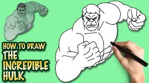 draw incredible hulk easy step step drawing