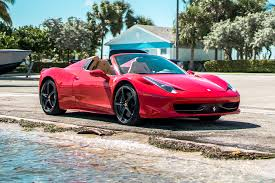 car ferrari 458 ferrari 458 spider red miami exotics exotic car rentals