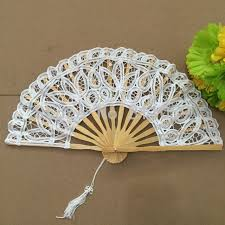 lace fan free shipping 10pcs lot white battenburg lace fan wedding fan