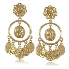 gold dangle earrings 2italian design baroque royal wind king brand cameo coin gold