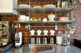 kitchen shelf decorating ideas kitchens rustic modern kitchen with brick backsplash and wall