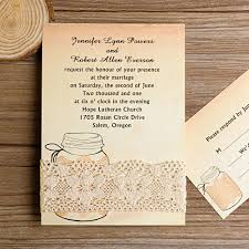 jar wedding invitations rustic jars lace wedding invitations ewls003 as low as 1 79
