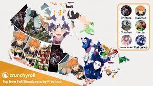 Canada Map With Provinces by Crunchyroll Feature Crunchyroll U0027s Most Popular Fall Anime By