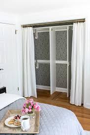 Shower Curtain For Closet Door Replacing Bi Fold Closet Doors With Curtains Our Makeover Beaded