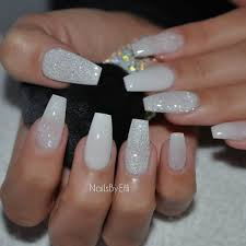 white pearl with diamond tapered square tip long nails nail
