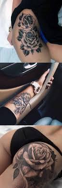 black flower floral thigh leg arm wrist bum