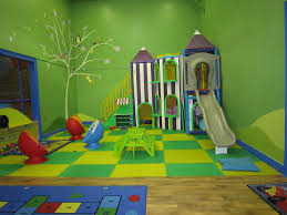 interior design style kids basement playroom with colorful