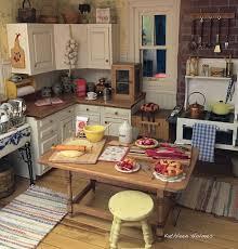 miniature dollhouse kitchen furniture rhubarb pie in dollhouse kitchen