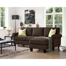 sofa with reversible chaise lounge winston brown fabric sofa with reversible chaise