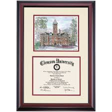 clemson diploma frame clemson premier tillman watercolor diploma frame clemson