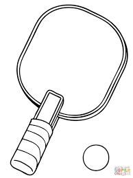 table tennis racket and ball coloring page free printable