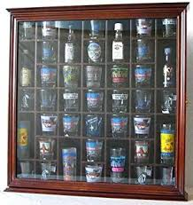 Wall Mounted Cabinet With Glass Doors by Amazon Com 41 Shot Glass Display Case Cabinet Holder With Glass