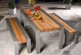 concrete and wood dining table outdoor dining bench seating glue wood to concrete outdoor concrete