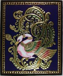 tanjore golden swan painting handmade indian thanjavur wall decor