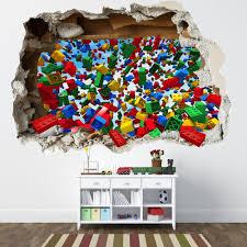 lego themed decor lego bricks full colour wall art sticker mural lego smashed wall sticker 3d bedroom lego bricks boys girls decal