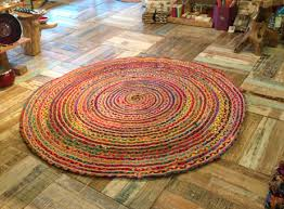 Coloured Rug Fair Trade Round Multi Coloured Cotton Jute Rug 1 1 2 Or 1 5