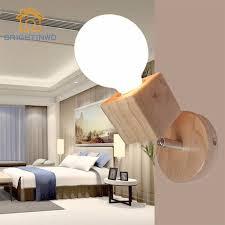 modern wood adjustable wall lamp bedroom bedside sconce lights