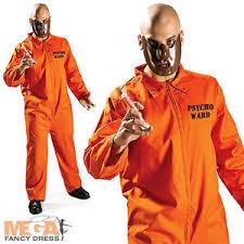 Halloween Costume Prisoner Psycho Ward Prisoner Uniform Mask Mens Fancy Dress Halloween