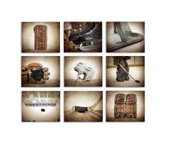 Cool Hockey Bedroom Ideas Set Of 9 Vintage Hockey Photographic Art Prints Boys Room