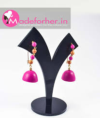 earring online buy magenta gold polymer clay hanging earring shop online free
