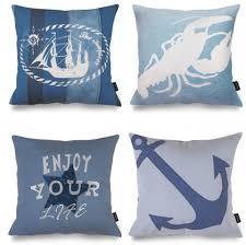theme pillows anchor throw pillows for living room nautical theme blue
