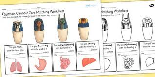 canopic jars matching organs worksheet canopic jars canopic