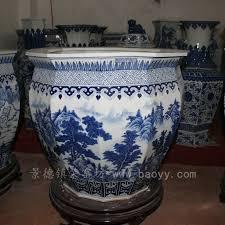 chinese blue white ceramic planter ryuz05 jingdezhen shengjiang