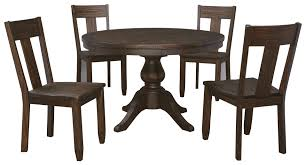 5 piece round dining table set with wood seat side chairs by