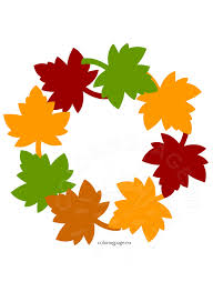 fall leaf wreath craft coloring page