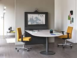 meeting table with a column for video conferencing idfdesign