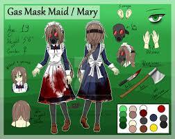 spirit halloween gas mask creepypasta oc gas mask maid mary reference sheet by