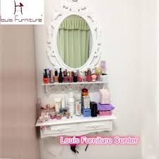 Bedroom Set With Vanity Dresser Korean Style Mini Wall Hanging White Ivory Dresser With Mirror