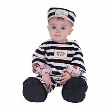 Convict Halloween Costumes Infant Toddler Child Law Breaker Convict Prisoner Cute Baby