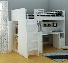 Loft With Stair Drawer And Desk White King Single - Single bunk beds