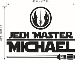 star wars name decal quote jedi master michael wall art murals decals can applied any smooth surface like non textured walls windows digital gadgets household appliances and etc material pvc size