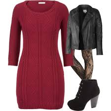 red cable knit sweater dress with lace tights and black leat